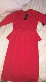 Mid length peplum dresses red & navy