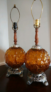 Vintage Retro 1960s Amber Glass Bubble Table Lamps