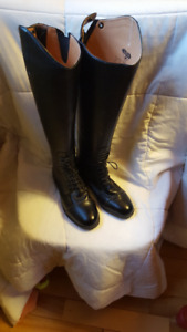 Black Saxon Ladies Field Boots - Size 9.5 Extra Wide Calf
