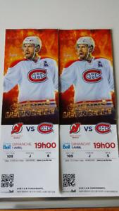 2 billets Devils  vs Canadiens section 105 rangée J siège 5 et 6