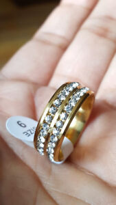 Two Line Crystal Rings in Gold, Silver and Rose Gold