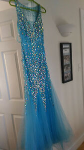 Prom Dress- blue with sequins