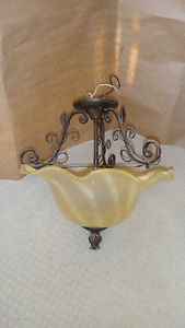 Semi-flush Ceiling Light 2 bulbs Vine bronze and glass