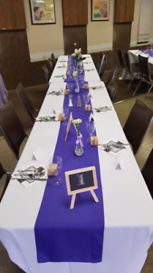 20 White Table Cloths and 20 Purple Runners