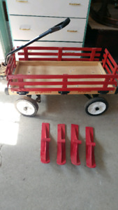 Practical 2 in 1 Red wooden wagon and sleigh combo