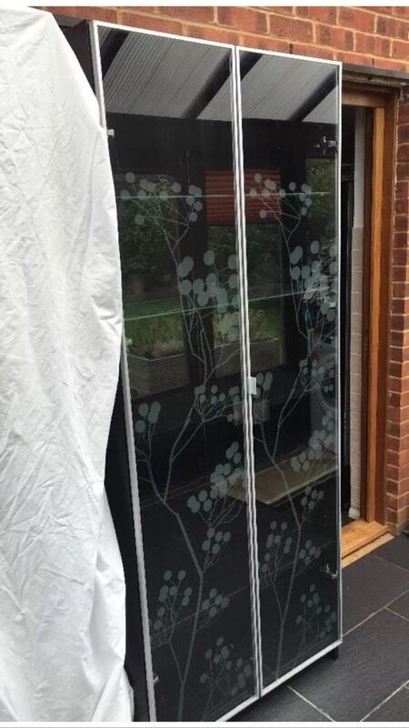 Ikea Billy Bookcase With Morliden Glass Door Floral Design Black