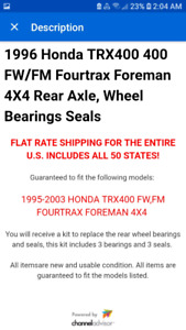 $35 1995-2003 Foreman400 Rear Axle & Wheel Bearing kit