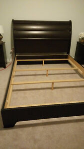 Mocha Queen Bed Frame and Matching Night Tables