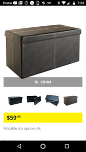 Like New Faux Leather Foldable Bench  Storage Ottoman