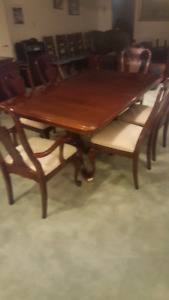 Solid cherry dining set with buffet hutch