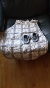 New Swaddle or Wearable blanket n New Moccasins