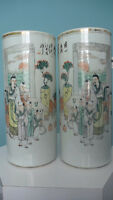 Pair of Old Chinese Famille Rose Porcelain Cylindrical Vases.