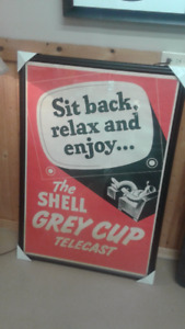 Shell poster sponsoring grey cup on tv