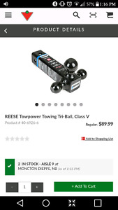 Towing tri-ball for 2 1/2 inch hitch