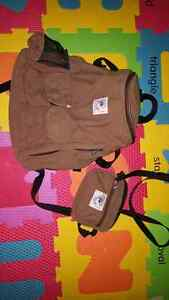 Brown Organic Ergo Backpack and purse/pouch.