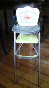 Vintage Mid-Century Metal Toy High Chair