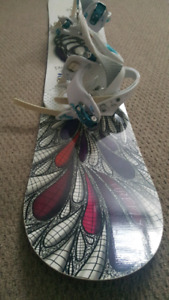 Womans firefly snowboard with bindings attached size 8.