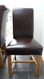 RUSTIC SOLID OAK LEATHER SCROLL BACK CHAIRS