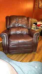 Rustic looking Brown leather recliner chair