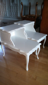 Rare 2 tier French provincial solid wood end tables
