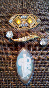 three antique heirloom brooches