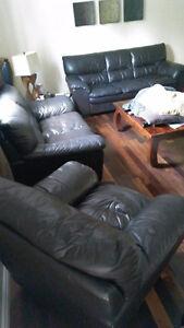 3 Piece Black Leather Living Room Set