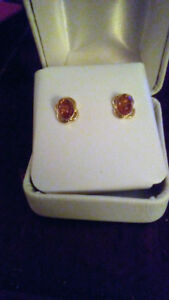 Amber earings 14kt solid gold