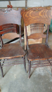 Assortment of antique tables and 2 press back chairs