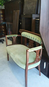 Antique settee -- original upholstery -- green -- good sturdy co