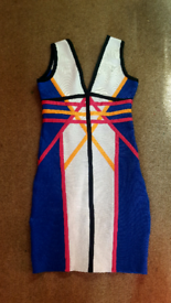 Lovely blue pink and white block bandage dress from wow couture size s