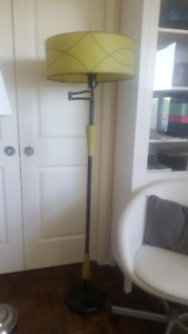 MId Century Floor Lamp chartreuse  green fibreglass shade
