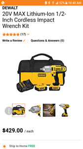 **NEW**SAVE$185 DEWALT 20V MAX Li-ION 1/2 IMPACT WRENCH