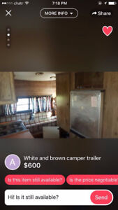 white and brown camper trailer 600 or best offer