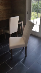 Brand New White Leather Parsons Dining Chairs