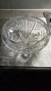 Large crystal footed bowl