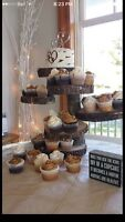 Rustic wooden cupcake stand $50