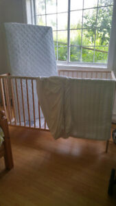 IKEA solid beech crib with matress, matress cover and sheets