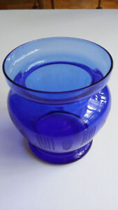 Cobalt Blue Glass Vase Engraved
