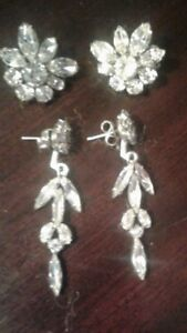 SHERMAN CLEAR CRYSTAL EARRINGS...BOTH ONLY $95.00...