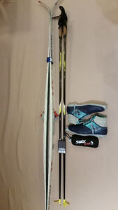 CROSS COUNTRY SKIS, BOOTS. POLES AND WAX