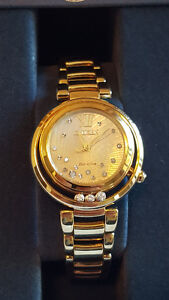 Ladies Gold Watch with Floating Diamonds