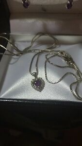 White gold amethyst pendant and earring