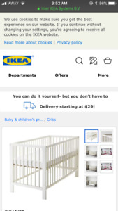 4 cribs/toddler day beds - 2 white, 2 beech