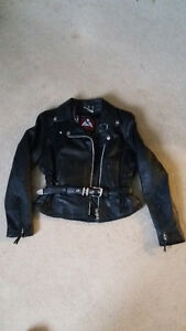 women's black leather motorcyle jacket