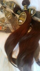 Rallonges cheveux 100% naturels trame 22 po. brun chatain chaud