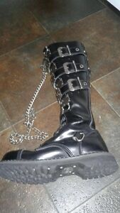 Men's Demonia Combat Boots with chains