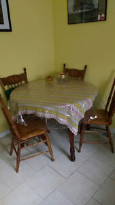 Round wood table with 2 chairs