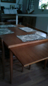 Dining room teak table and chairs