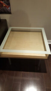 Moving sale - Glass top side table with TV stand (Free TV)