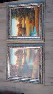 "Two vibrant 16.5"" x 16.5"" scenic pictures w/ornate silver frames London Ontario image 1"